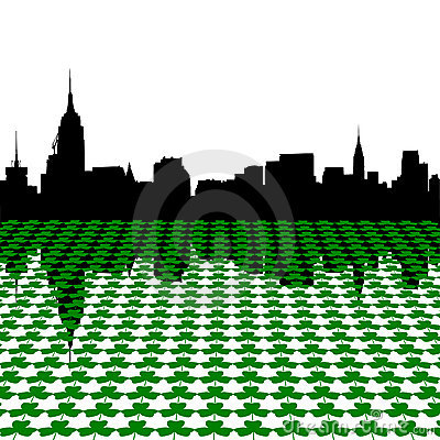 Manhattan skyline with shamrocks