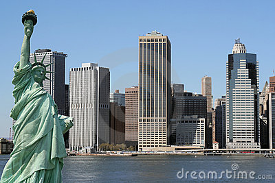 Manhattan skyline and the Statue of Liberty, NYC