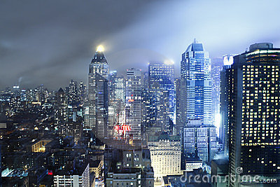 Manhattan skyline storm night