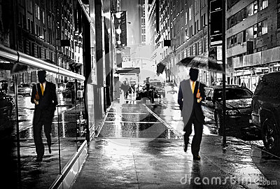 Manhattan street by night