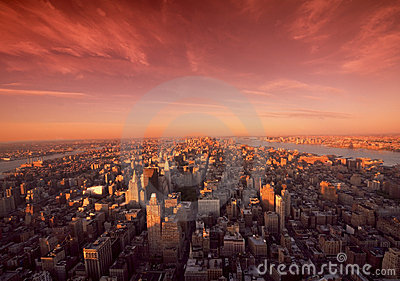 Manhattan Sunrise In New York