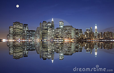 Manhattan under the moonlight