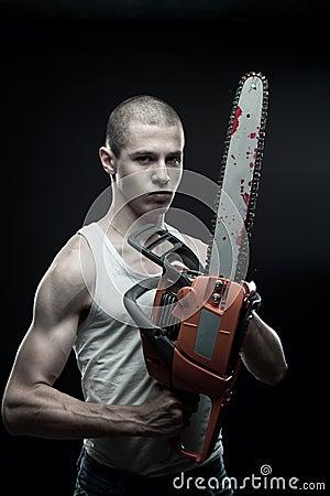 Maniac with chainsaw