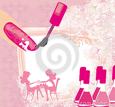 Manicure in beauty salon abstract card stock vector for Abstract beauty salon