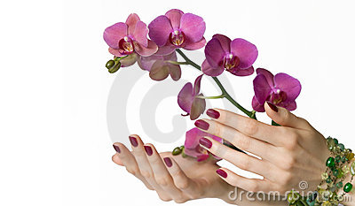 Manicure, orchid and beads