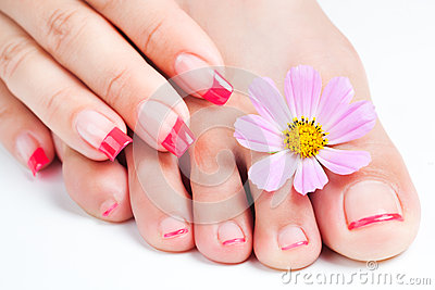 Manicure and pedicure relaxing with flowers