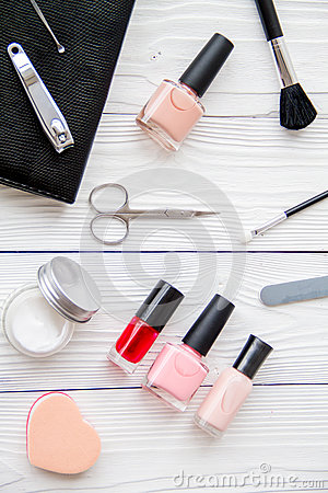 Free Manicure Set And Nail Polish On Wooden Background Royalty Free Stock Photography - 80510197