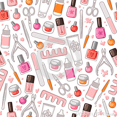 Free Manicure Tools Vector Seamless Pattern Stock Image - 59916381