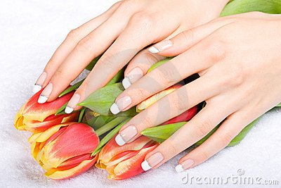 Manicure and tulips
