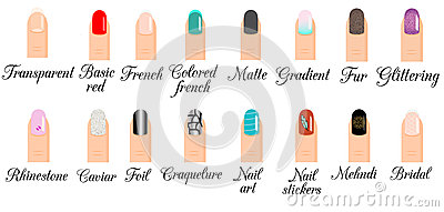 Types of nails styles beautify themselves with sweet nails types nail design nail art vector set trendy manicure styles prinsesfo Choice Image