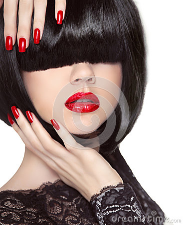 Free Manicured Nails. Red Lips. Black Bob Hairstyle. Brunette Girl Stock Images - 49800314