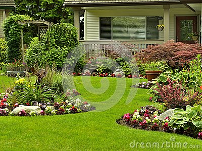 Stock Image Manicured Yard Beautifully Arranged Flower Garden Residential Image31598801 on luxury mansion estate house plans
