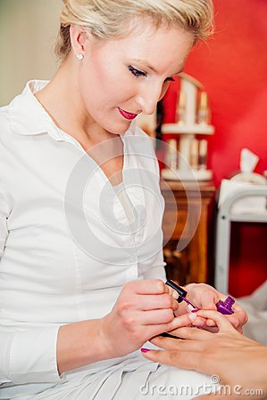 Manicurist at Beauty Salon