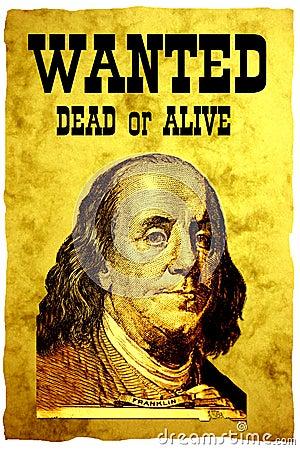 Manifesto CARENTE concettuale. La testa degli S.U.A. 100 dollari di Presidente Franklin della fattura