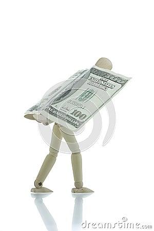 Manikin carrying hundred dollars bill