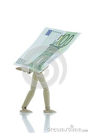 Manikin carrying hundred euro bill