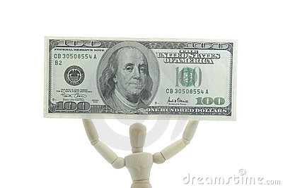 Manikin holds dollar bill high up