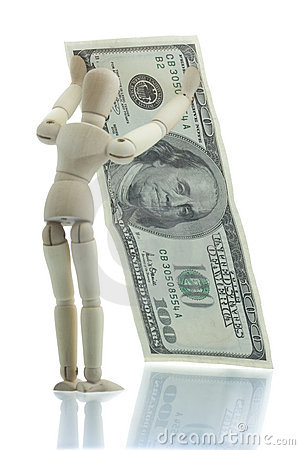 Manikin holds falling dollar bill