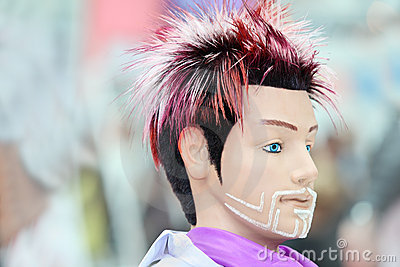 Manikin with original hairstyle and unusual beard