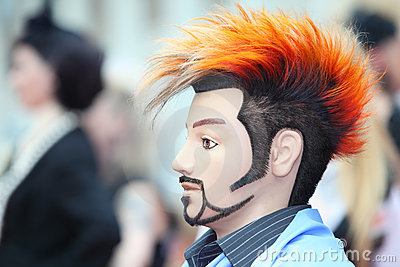 Manikin with original hairstyle and unusual beard
