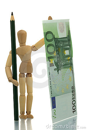 Manikin with pencil and money