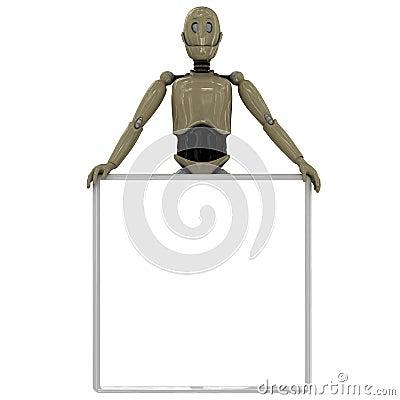 Manikin robot holding  whiteboard