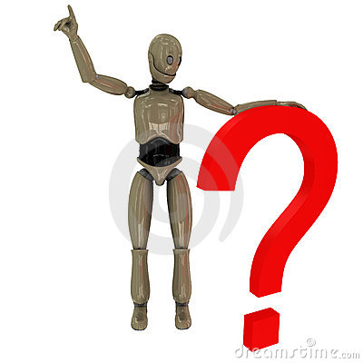 Manikin robot and question mark