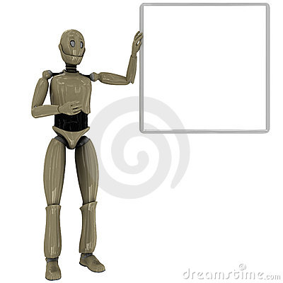 Manikin robot and whiteboard