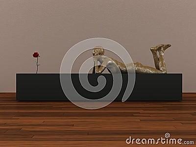 Manikin and rose