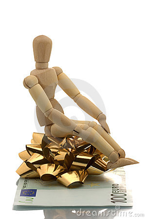 Manikin sitting on a gift wrap