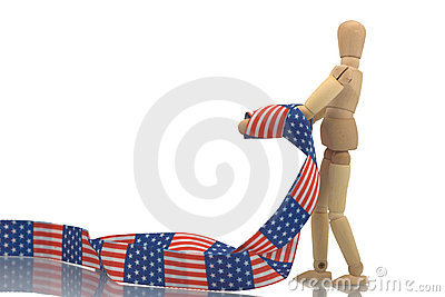 Manikin tied with US patterned tape