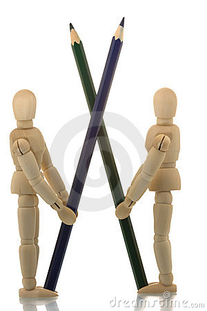 Manikins standing with two pencils crossed