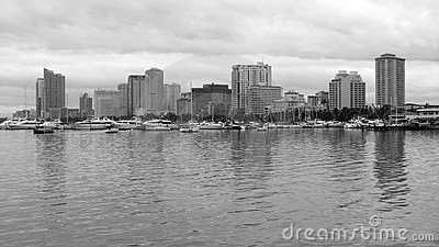 Manila Bay Skyline in Black & White
