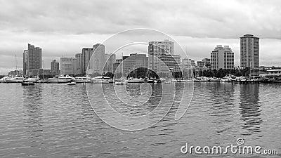 Manila Bay Skyline in Black & White