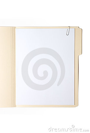 Free Manilla Folder With Paper And Clip Royalty Free Stock Images - 10566619