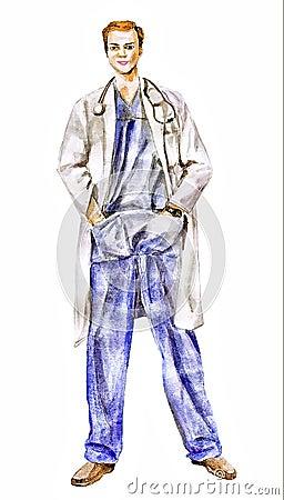 Manipulera (läkareförtroende en man som) illustrationen
