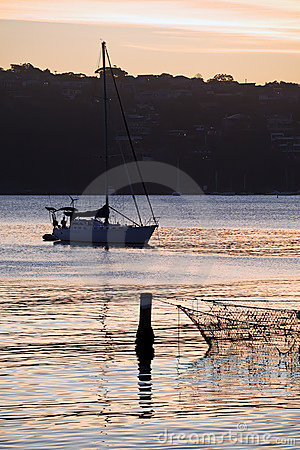 Manly Cove and Yacht at Sunset