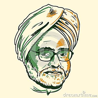 Manmohan Singh portrait Editorial Image