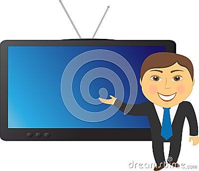 Mann auf Fernsehhintergrund