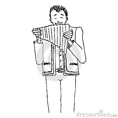 Mann, der am Pan-pipe singt