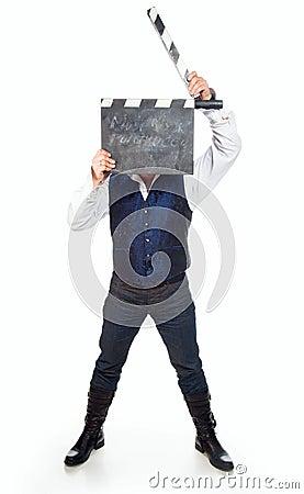 Mann mit clapperboard