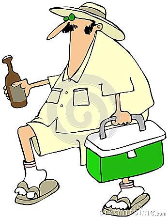 Mann mit einer Bierkühlvorrichtung