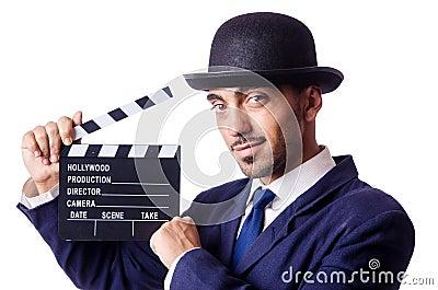 Mann mit Filmscharnierventil