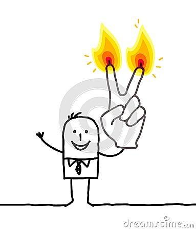 Mann mit zwei brennenden Fingern