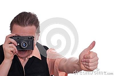 Mann with range finder camera