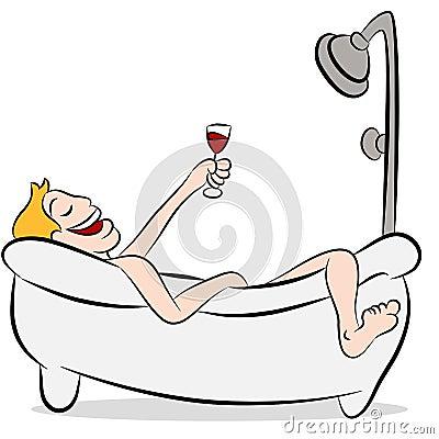 mann trinkender wein in der badewanne lizenzfreie stockfotografie bild 19913507. Black Bedroom Furniture Sets. Home Design Ideas
