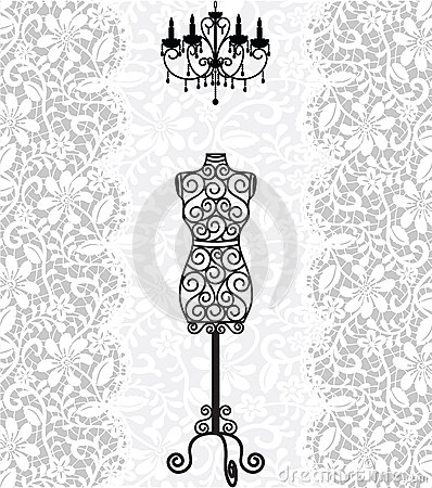 Free Mannequin And Chandelier On Lace Background Royalty Free Stock Images - 27644329