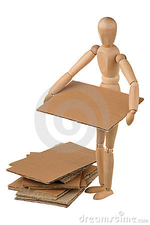 Mannequin and cardboard