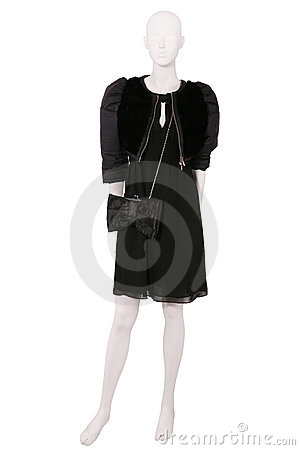 Mannequin dressed in jacket and black dress