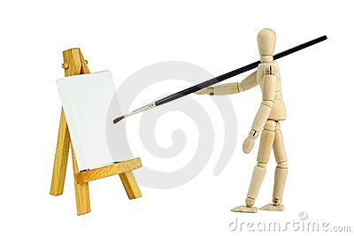 Mannequin with easel